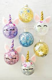 these diy glitter unicorn ornaments are the cutest thing to put on