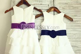 boho beach ivory chiffon cupcake flower dress with navy blue