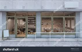 front view cafe shop restaurant design stock illustration