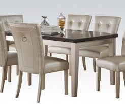 voeville bluestone top platinum finish 7 piece dining table set