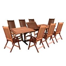 Eucalyptus Outdoor Table by Vifah Roch Eucalyptus 9 Piece Patio Dining Set With Extendable