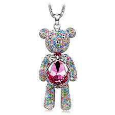 swarovski crystals necklace designs images J nina quot bear princess quot made with pink swarovski crystals cute bear jpg