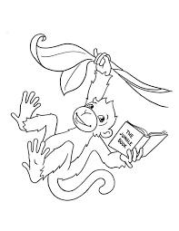 monkey reads jungle book coloring download u0026 print