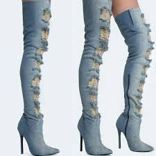 s boots high heel privileged distressed thigh high denim boot designer shoes