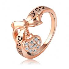 rings love heart images Black enamel love you heart ring 18k rose gold plate austrian jpg