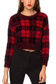 plaid sweater black plaid faux fur sleeve cropped pullover sweater