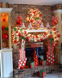 beautiful decorating fireplace for christmas with attracting
