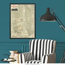 Manhattan Street Map Manhattan Poster New York Street Map Vintage Style Paper