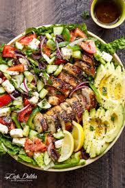 loaded greek chicken avocado salad cafe delites