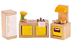 kitchen set furniture amazon com hape wooden doll house furniture kitchen set with