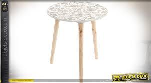 canapé circulaire bout de canapé circulaire bois naturel plateau blanc à motifs