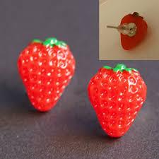 food earrings 1 pair girl creative resin food fruit hamburger ear