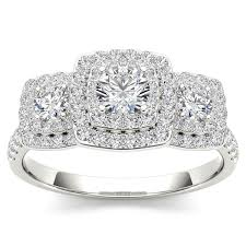 overstock engagement rings de couer 10k gold 1ct tdw halo 3 engagement ring