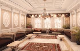 luxury living room interior design in arabic style with a polished