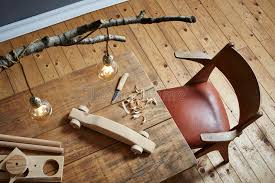 wood carving workspace creative hobby wood and modern design stock