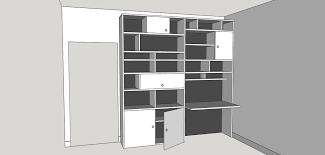 bibliothèque avec bureau intégré plan bibliothèque avec bureau intégré par gboidin sur l air du bois