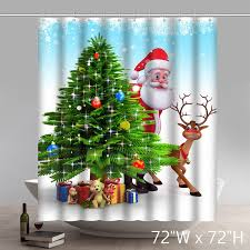 Santa Curtains Funny Print Christmas Gift Santa Claus And Reindeer Behind