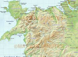 Map Of Wales Wales 1st Level Political Map With Regular Relief 1m Scale In
