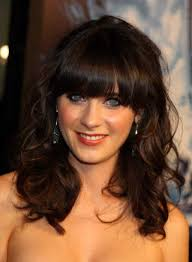 long hairstyles with bangs for curly