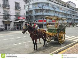 philippine kalesa kalesa or horse carriage in historic town of intramuros