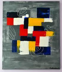 Tableau Abstrait Rouge Et Gris by Tableau Moderne Contemporain