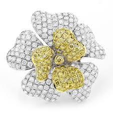 diamond flower rings images 14k white yellow diamond flower ring 5 73ct jpg