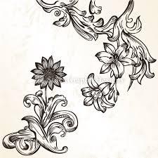 vintage flower ornaments vector set 1 vector photoshop brushes
