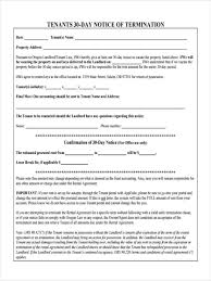 Early Termination Of Lease Letter 8 30 Day Notice Forms Free Sample Example Format Download