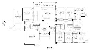 large ranch floor plans modern house plan with 4 bedrooms and 3 5 baths plan 4364