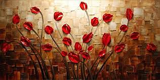 painting for home decoration wieco art budding flowers 100 hand painted modern canvas wall art