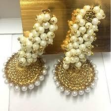 gold jhumka hoop earrings buy girl chandni adiva antique pearl golden jhumka hoop