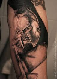 photo like 3d realistic detailed spartan warrior with spear tattoo