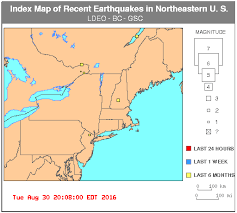 northeastern cus map recent earthquakes in the northeastern u s index map