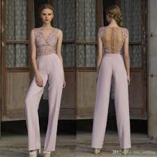 modern ladies pantsuits see through illusion long evening gown