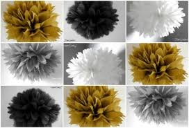 black and gold party decorations 10 tissue poms 50th wedding anniversary decor graduation party