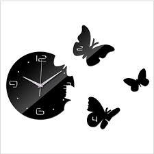 montre de cuisine 2017 vente chaude 3d diy miroir horloge murale design moderne pour