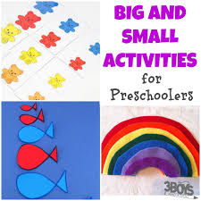 big and small preschool activities for 3 boys and a 3