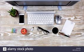 chic office supplies chic office desk top stock photo top view desktop office supplies