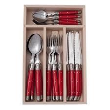 laguiole kitchen knives laguiole andre verdier debutant 24 piece mirror cutlery set red