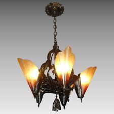 L Shade Chandelier Deco Bronze 5 Light Slip Shade Chandelier Midwest Lighting