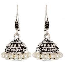 jhumki earring aabhu designer colour vintage oxidised german silver jhumki