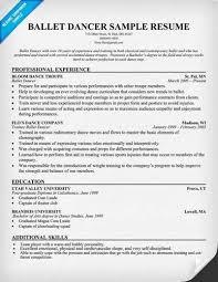 choreographers sample resume resume cv cover letter ballet dancer