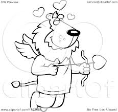 cartoon clipart of a black and white flying lion cupid with hearts