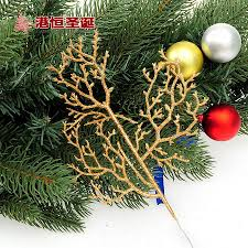 christmas tree branch decoration 27x14cm golden glitter sticks