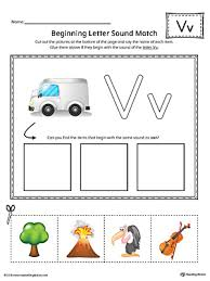 letter v beginning sound picture match worksheet color