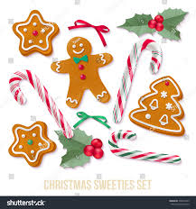 set gingerbread christmas cookies holly candy stock vector