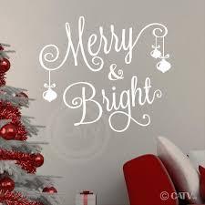 merry bright all cursive with 3 ornaments vinyl