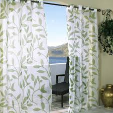 Green And White Curtains Decor Classic White Cotton Curtain With Decorative Green Leaves Pattern
