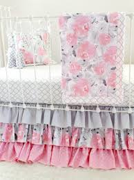 Pink And Gray Crib Bedding Sets Pink Gray Fawn Baby Bedding Set Pink Deer Woodland Nursery