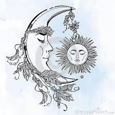 moon and sun vector